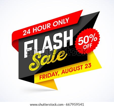 Flash sale bright banner design template. One day sale, Friday special offer. Vector illustration.
