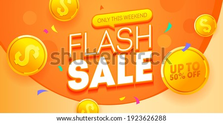 Flash sale discount banner template promotion. Special offer flash sale 50% off. Vector shopping poster