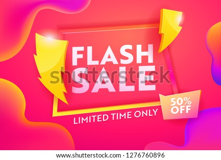 Flash Sale Hot Advertising Horizontal Poster. Business Ecommerce Discount Promotion Gradient Template. Lightning Symbol on Marketing Closeout Deal Banner Design Vector Illustration