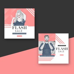 Flash Sale Poster Design with 40% Discount Offer in Two Option.