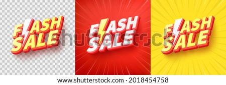 Flash Sale Shopping Poster or banner with Flash icon and text on transparent,red and yellow background.Flash Sales banner template design for social media and website.Special Offer Flash Sale campaign
