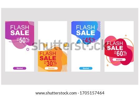Flash sale special offer set.Dynamic modern fluid mobile for flash sale banners.vector design