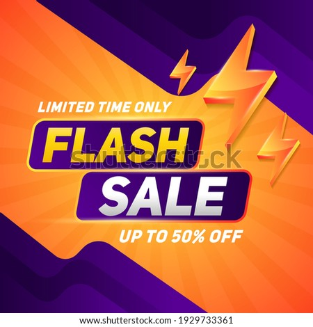 Flash sale square banner for media promotion and social media post