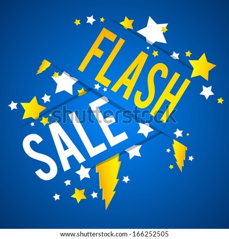 Flash Sale With Thunder and Stars on Blue Background vector illustration - stock vector