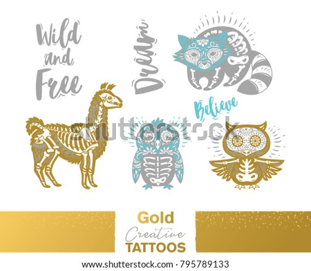 flash tattoo gold  silver and