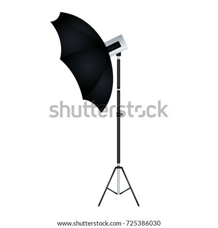 flash umbrella with tripod isolated vector