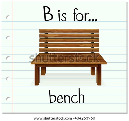 Flashcard letter B is for bench illustration