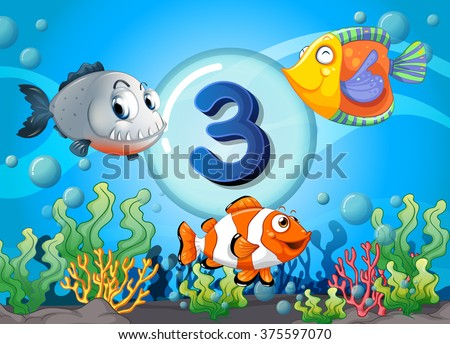 Flashcard number three with 3 fish underwater illustration #375597070