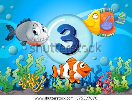 Flashcard number three with 3 fish underwater illustration #375597070