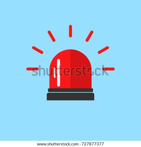 Flashing alarm signal. Police or ambulance red flasher siren logo. Flat style. Flasher alert icon. Simple flat vector illustration