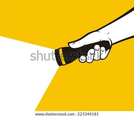 Flashlight hand Photo stock ©
