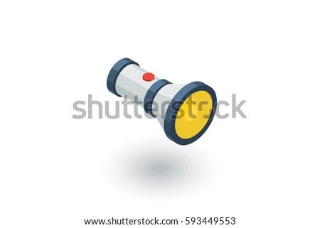 flashlight Isometric flat icon. 3d vector colorful illustration. Pictogram isolated on white background Photo stock ©