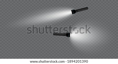 flashlight on a transparent background. Shine.lighting the space.metal Foto stock ©