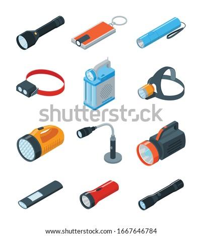 Flashlight vector illustration on white background . Isometric set icon spotlight. Vector cartoon set icon flashlight. Foto stock ©