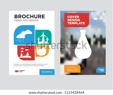 Stock Photo Flask brochure flyer design template with abstract photo background, Open book, Eolic, Forest, Cloudy minimalist trend business corporate roll up, icon pack