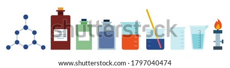 Flask, spirit lamp, test tube, microscope, reagents, beaker, chemicals. Chemical, scientific, educational vector illustration vector icon flat isolated.