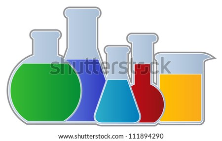 Flasks and Beaker-Chemistry Equipment including flasks and beaker isolated