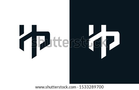 Flat abstract letter HP logo. This logo icon incorporate with two abstract shape in the creative process.