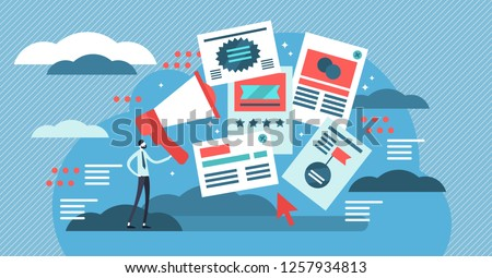 Flat adverts vector illustration. Online offer for business discount campaign, promo or publication. PPC managing or pay per click traffic attraction. Publication message placement on web home page.