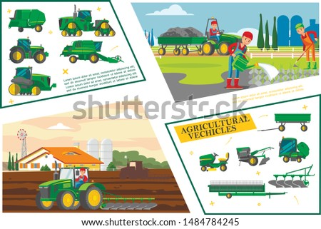 Flat agriculture and farming composition with farmers seeding vegetables agricultural vehicles and machines vector illustration