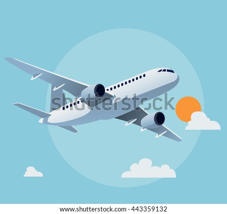 flat airplane illustration