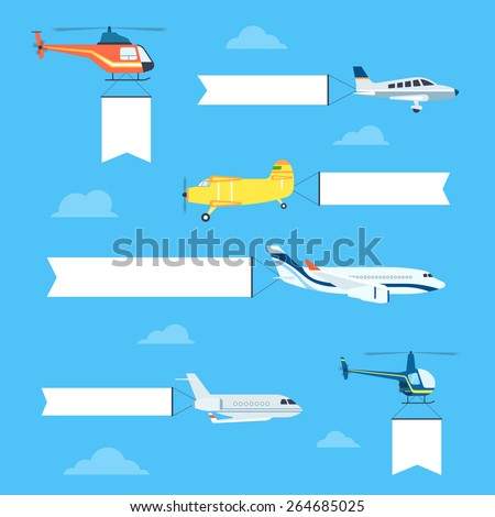 Flat airplanes and helicopters set with white ribbon for text banners. Plane is flying with flag