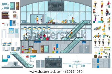 Flat airport infographic template with passengers in different situations baggage and terminal elements vector illustration