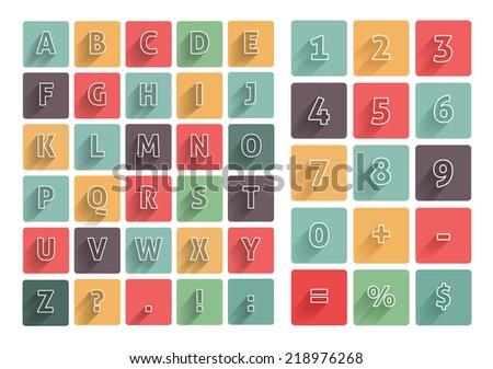 flat alphabet a z icons