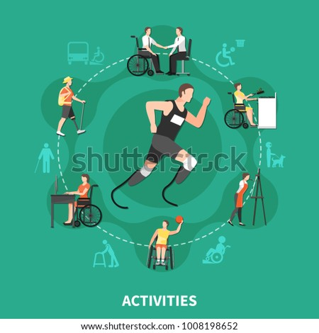 Flat and colored disabled person concept with activities headline and people with disabilities find their own hobbies