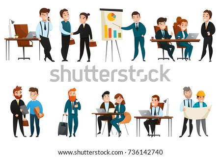 Flat and isolated business people icon set with men and women in office at the work vector illustration