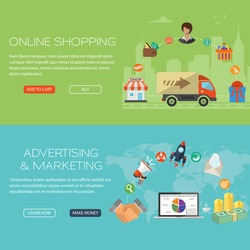 Flat and web design concept vector banners with icons of online shopping commerce and advertising marketing elements with money notebook and handshake signs