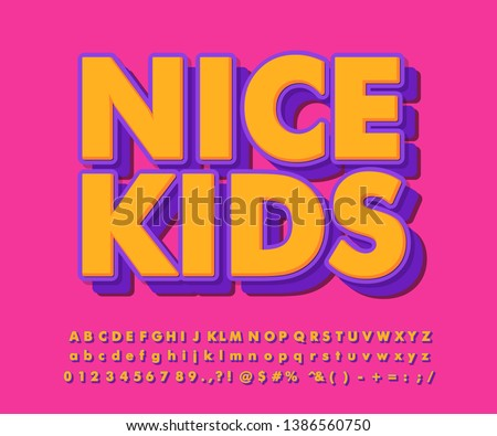 Flat anf bold text effect with charming color, cool typography for kids sticker projects.