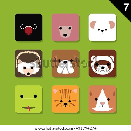flat animal faces application