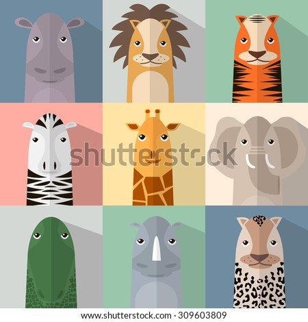 Flat animal icon set with shadow. African animals collection. Finger animals