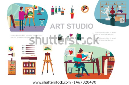 Flat art studio composition with female and male artists painting equipment sculptures camera lamp vector illustration