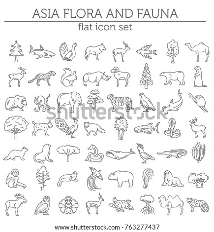 Flat Asian flora and fauna  elements. Animals, birds and sea life simple line icon set. Vector illustration
