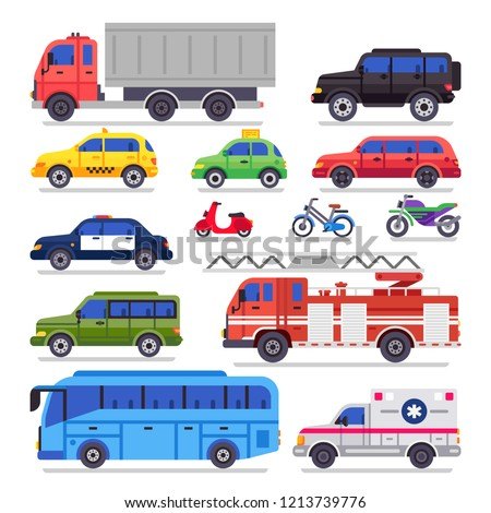 Flat auto transport. City road car, bicycle and motorcycle. Ambulance car, fire engine and town transporter bus, automotive transportation cars. Automobile isolated icons vector set