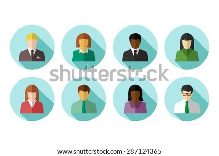 Flat avatar set of multiracial business people