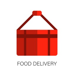 Flat bag food delivery icon. Service for ordering food online. Fast food delivery. Courier services. Vector.