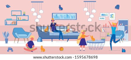 Flat Banner Health Problems from Domestic Cats. Children Play at Home in Room with Cats and Toys. Teen Guy Sits on Couch and Trains Cat. Boy has Stomach Ache, he is Sitting on Floor.