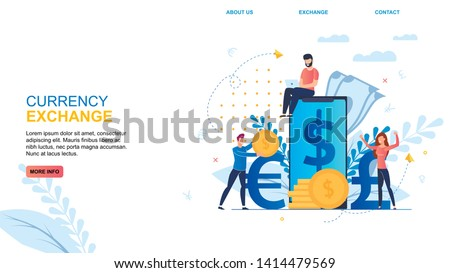 Flat Banner Inscription Currency Exchange Cartoon. Online Economy Applications for Quick Currency Exchange. People Rejoice at Favorable Exchange Rate. Vector Illustration Landing Page