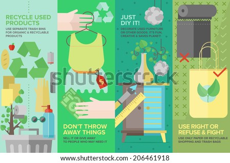 Flat banner set of second-hand clothing, used goods and products, recycling waste and old items for ecology protection, diy furniture and things. Flat design style modern vector illustration concept.