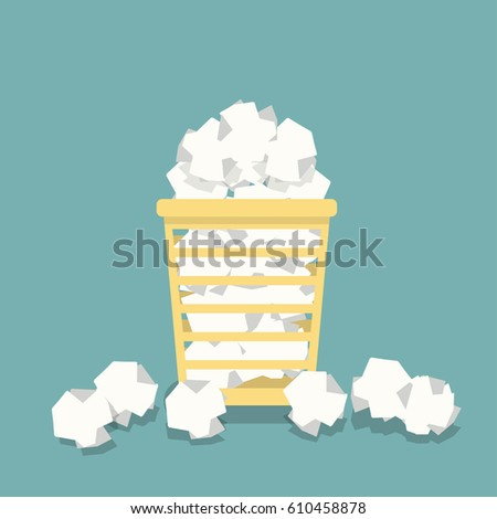 Flat basket for papers in vector. Full office urn. Crumpled documents, papers.