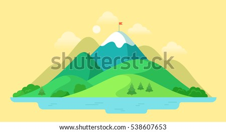 flat beautiful mountain peak