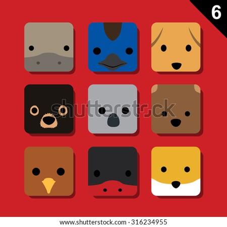 flat big animal faces
