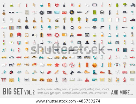 flat big collection set icons