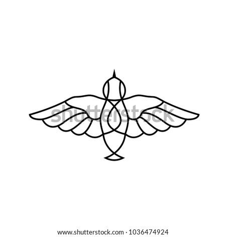 Flat birdie icon logo. Pictogram isolated on white background. Flying insect symbol.