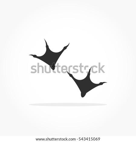 flat black animal footprints