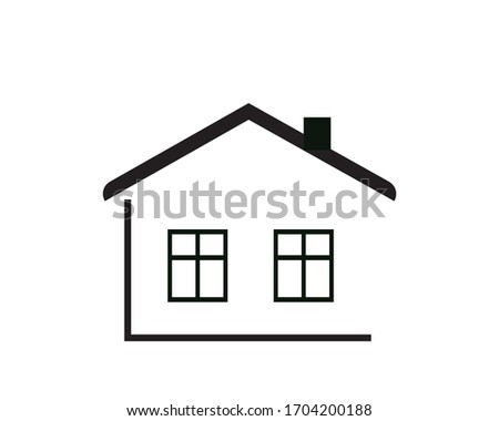 Flat black home (roof and window) icon Vector Illustration