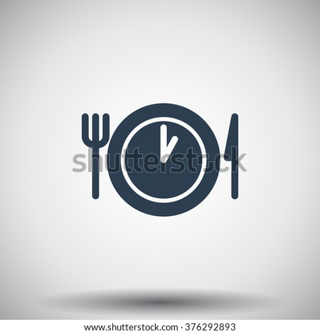 Flat black Lunch Time icon